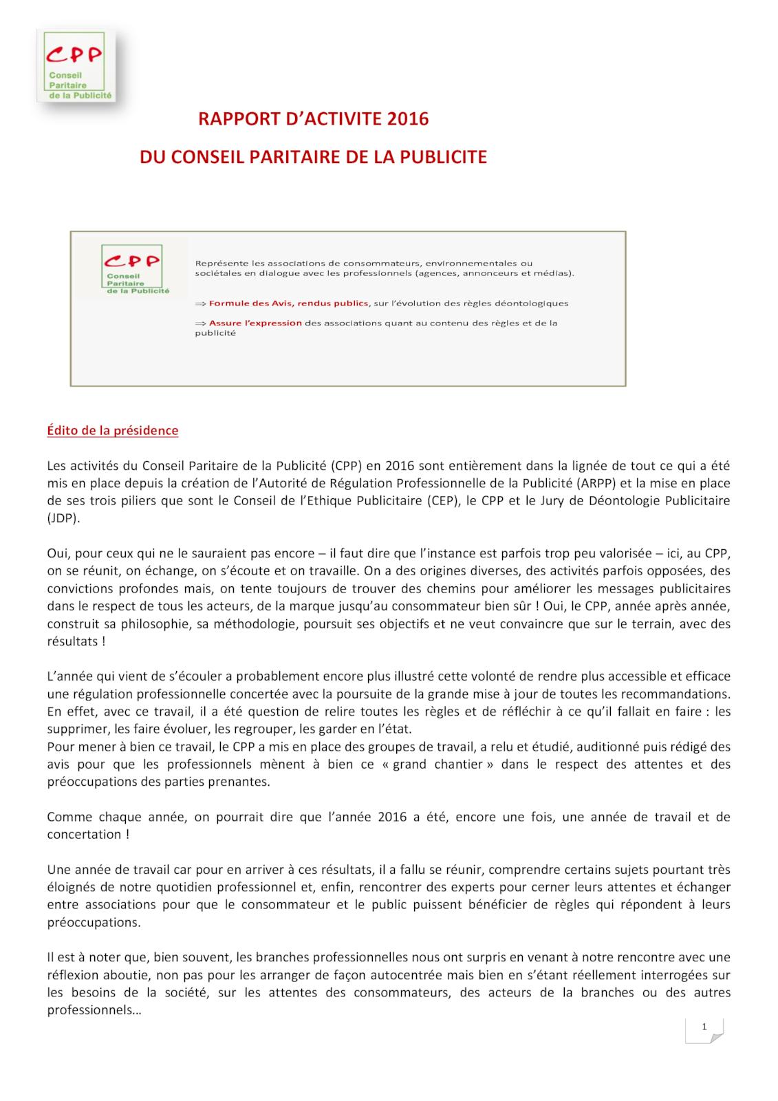 Rapport d'activité 2016 du CPP